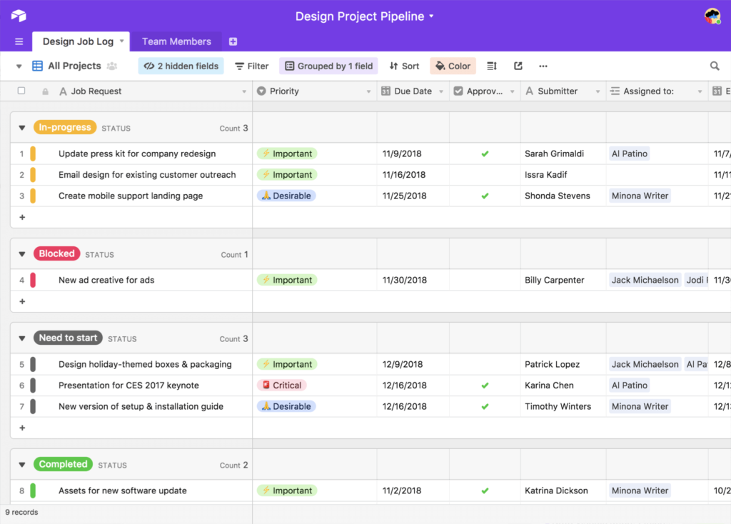Grid view of Airtable database